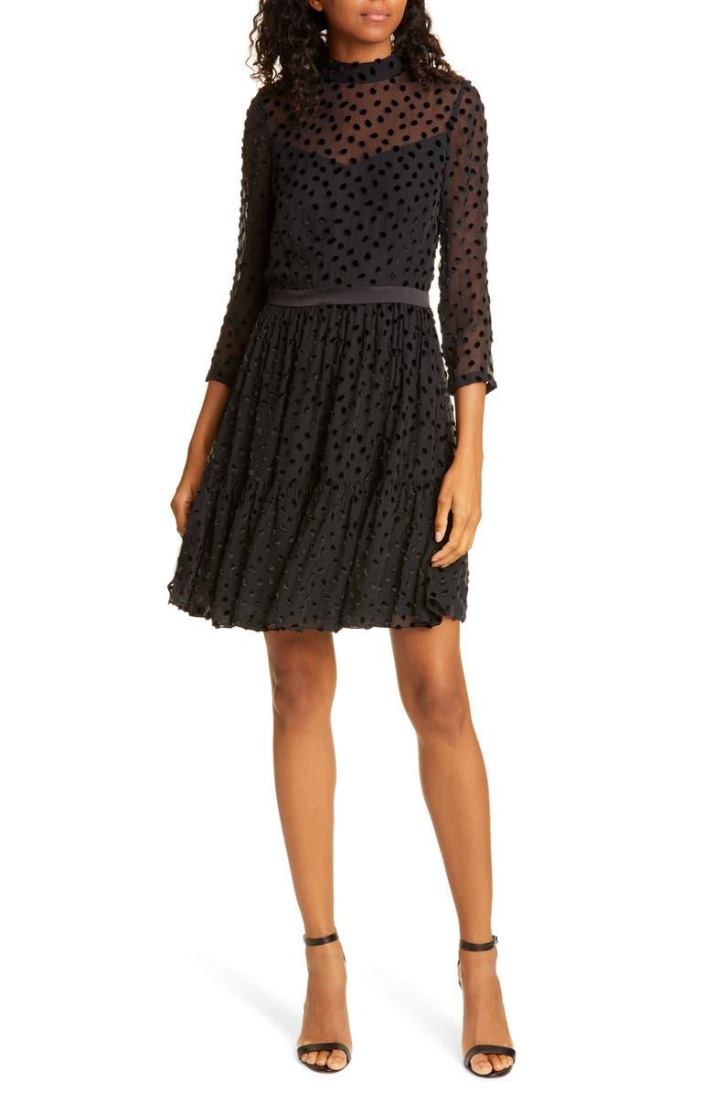 REBECCA TAYLOR Velvet Dot Ruffle Hem Dress, Main, color, 001