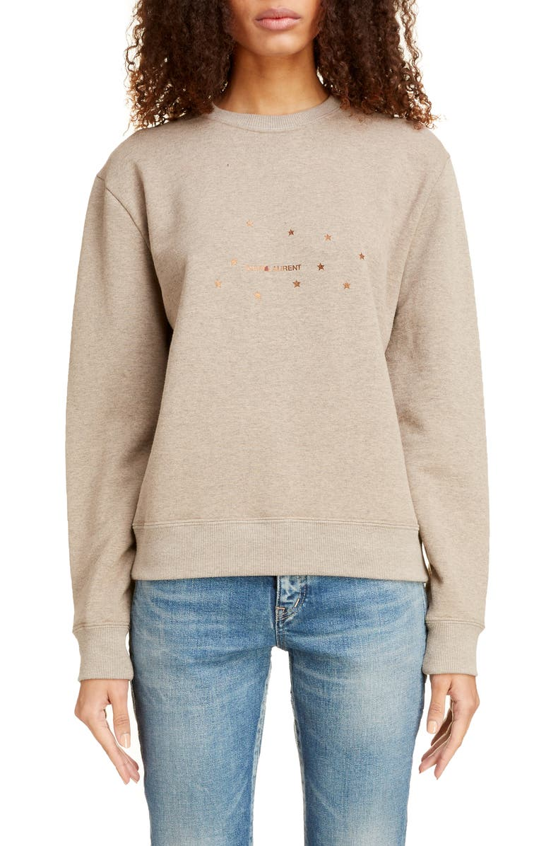 SAINT LAURENT Small Logo Print Sweatshirt, Main, color, TAUPE CHINE/ OR