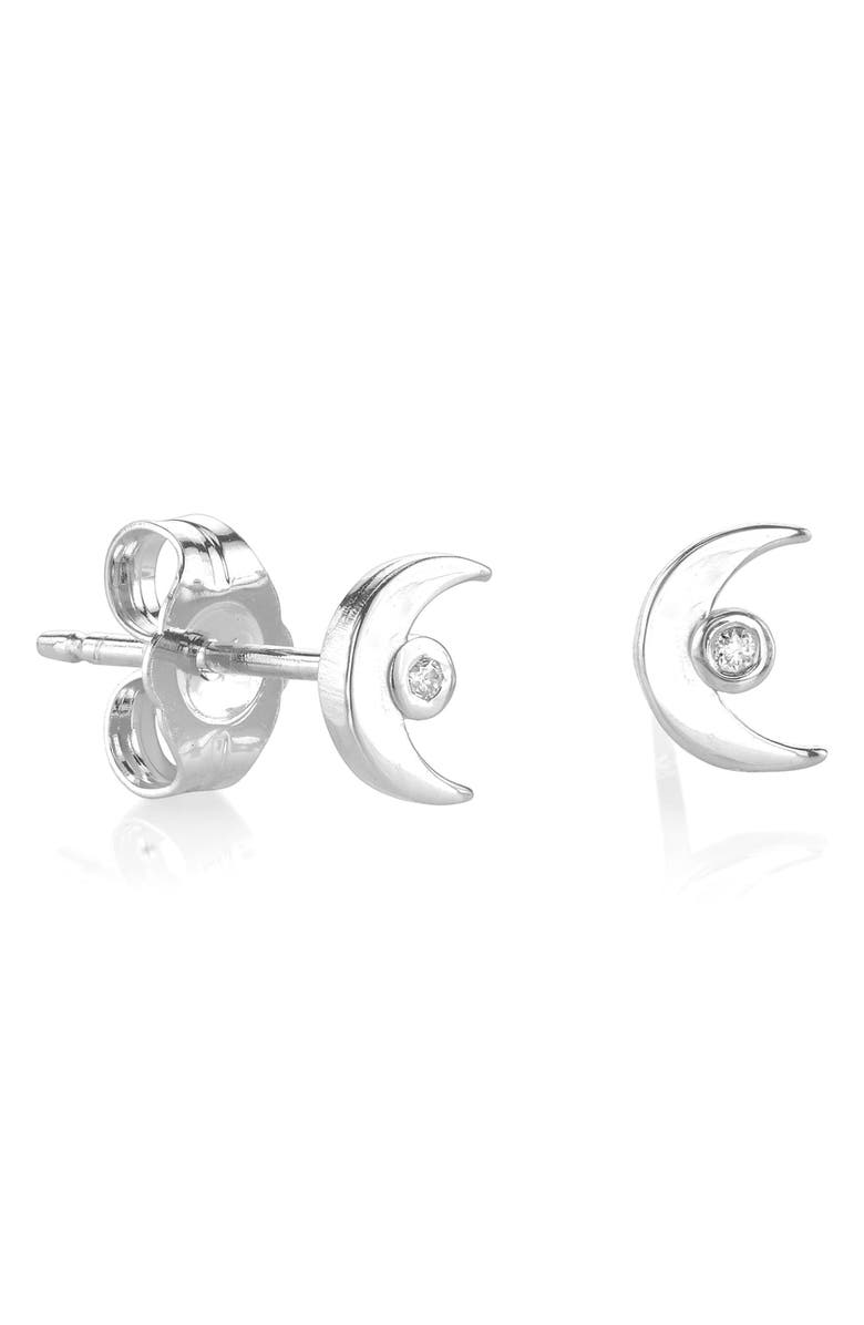 SYD BY SYDNEY EVAN Crescent Stud Earrings, Main, color, SILVER