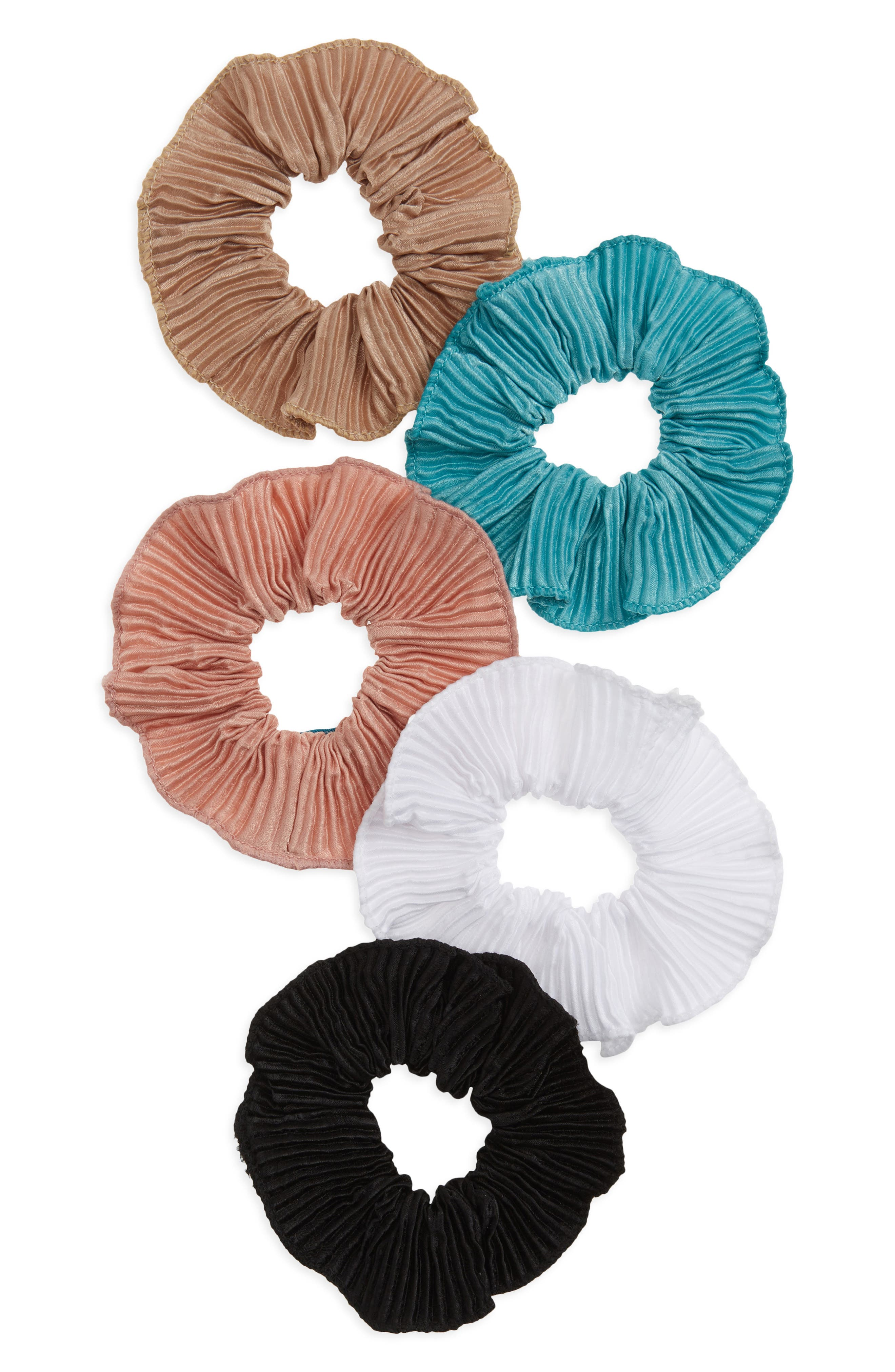 5-Pack Assorted Pleated Scrunchies