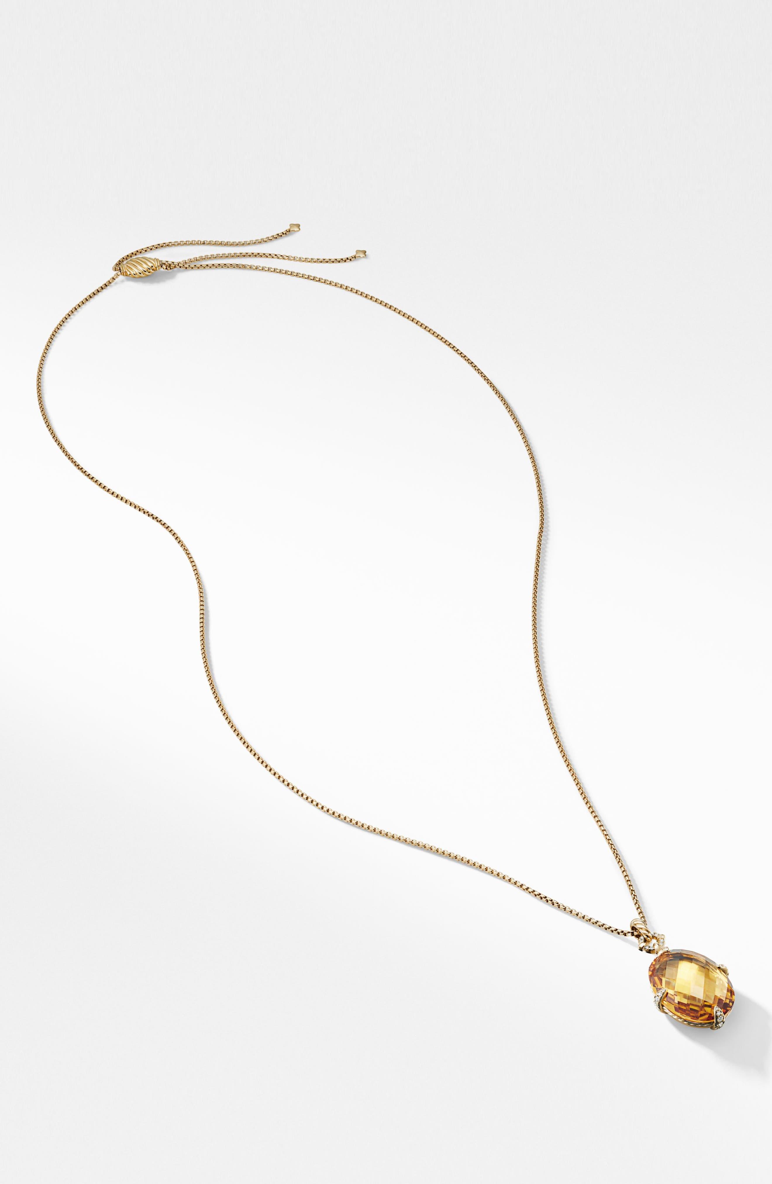 ,                             Chatelaine<sup>®</sup> 18k Gold Pendant Necklace with Honey Quartz & Diamonds,                             Alternate thumbnail 2, color,                             GOLD/ DIAMOND/ HONEY QUARTZ