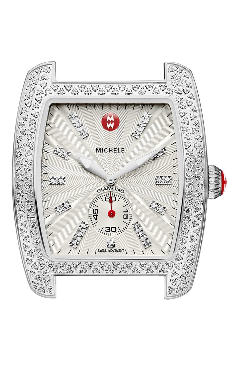 MICHELE 'Urban Diamond' Diamond Dial Watch Case, 36mm x 37mm, Main, color, 040