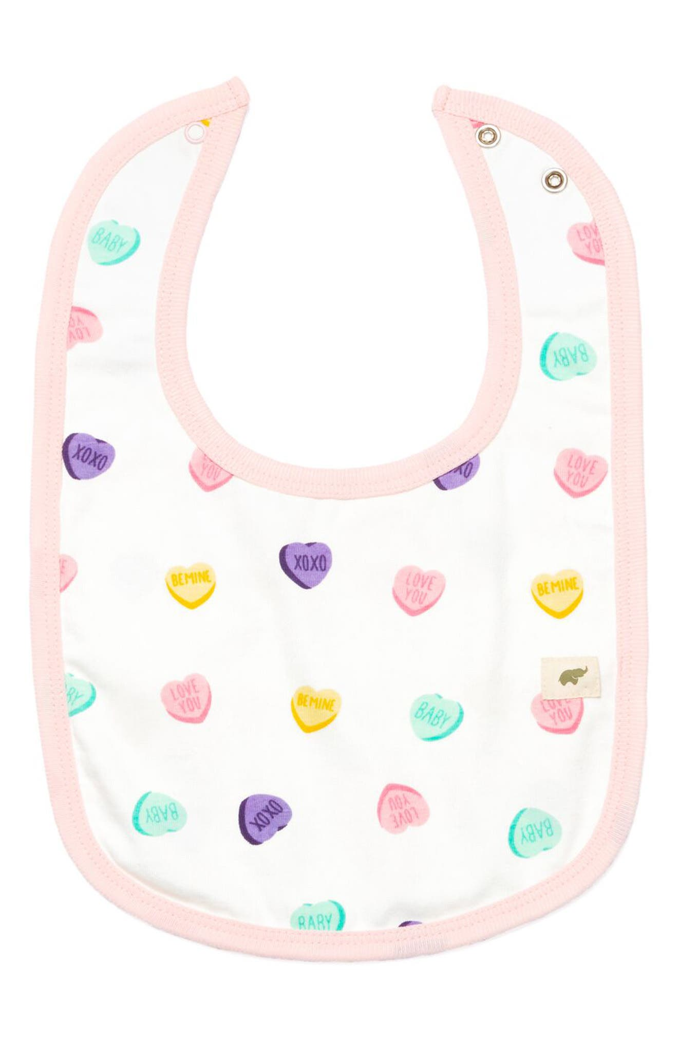 Infant Monica  Andy Conversation Heart Print Organic Stretch Cotton Bib Size One Size  Pink
