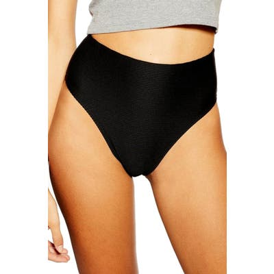 Topshop Ribbed High Waist Bikini Bottoms, US (fits like 0-2) - Black