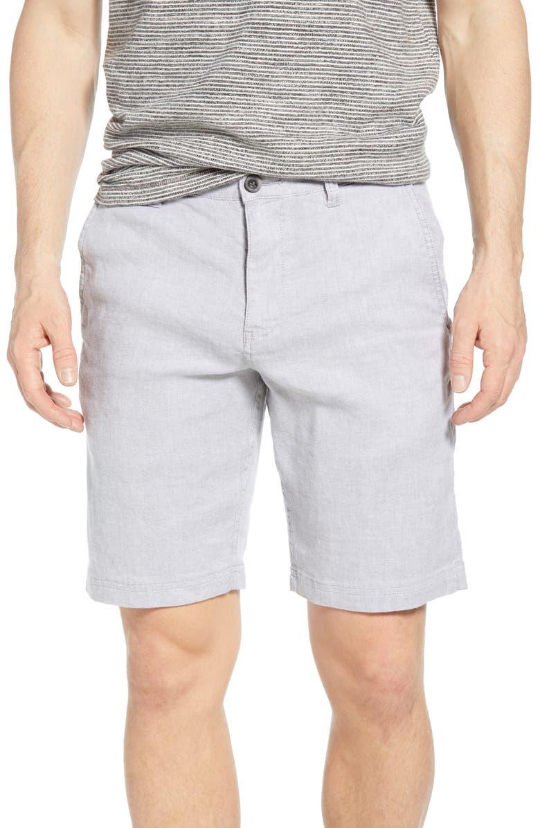 TOMMY BAHAMA Beach Flat Front Linen Blend Shorts, Main, color, STORM GREY