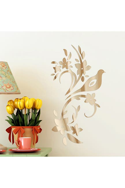 Image of WalPlus Bird Tree Mirror Wall Art