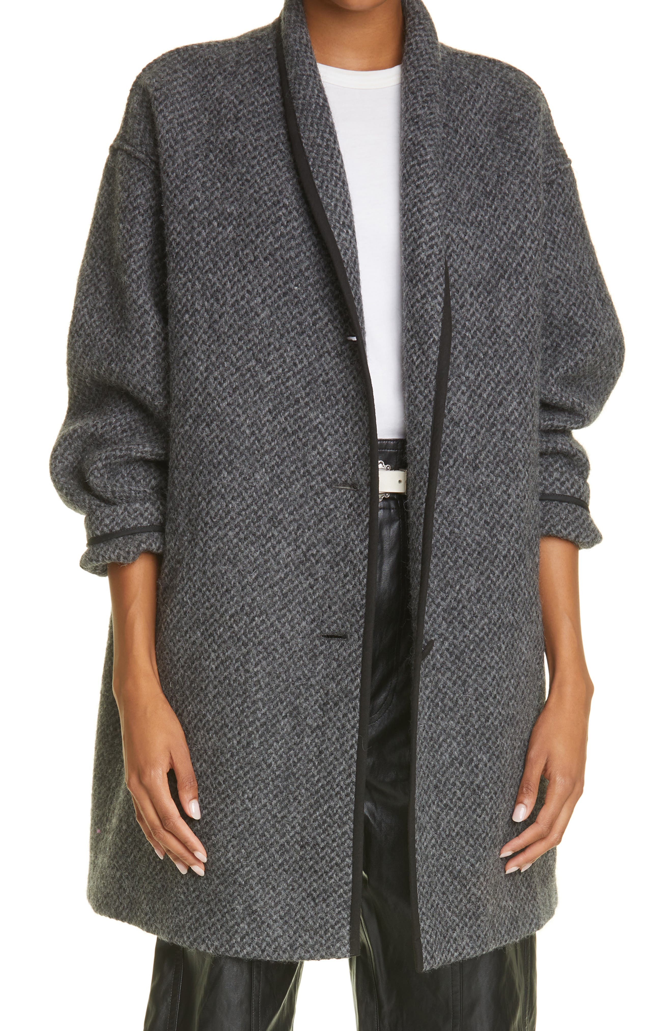 Women's Isabel Marant Etoile Jelanyo Herringbone Virgin Wool Coat
