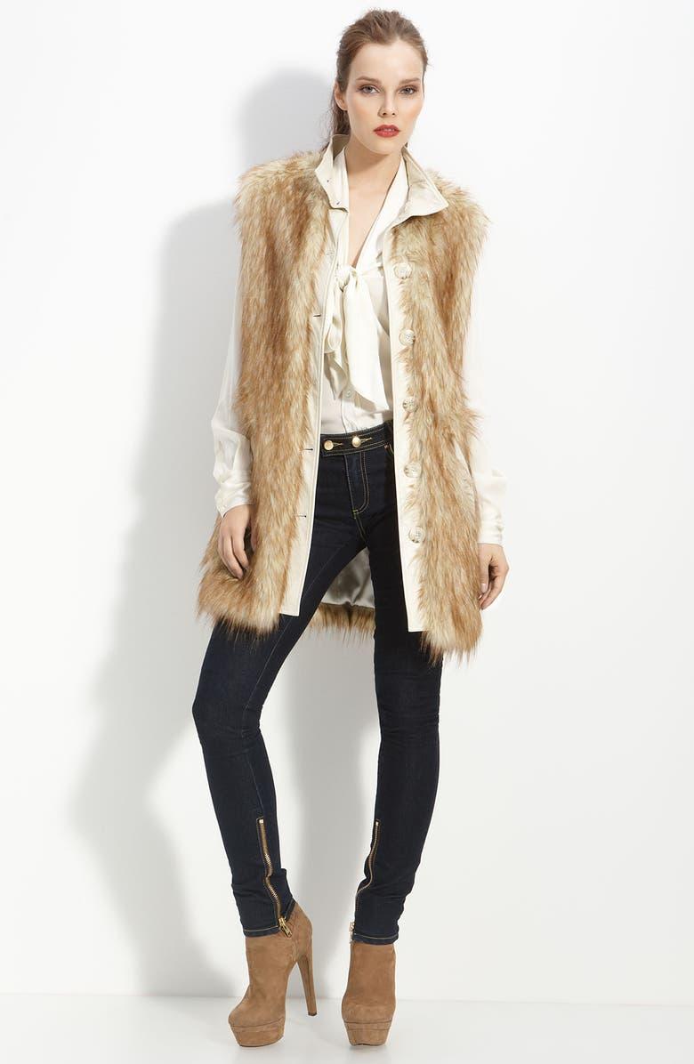 RACHEL ZOE Faux Fur Long Vest, Main, color, 280