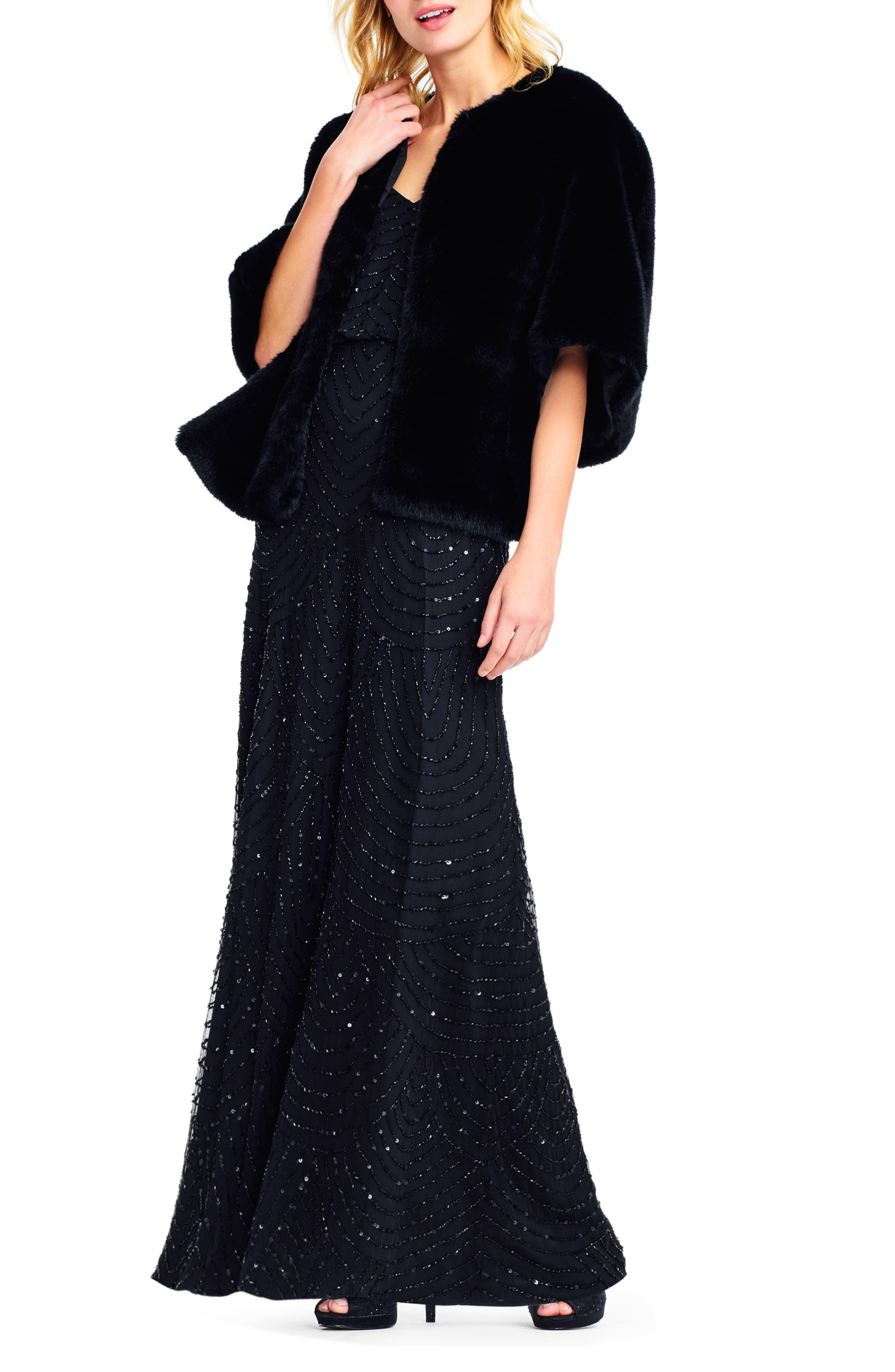 1930s Evening Dresses | Old Hollywood Silver Screen Dresses Womens Adrianna Papell Faux Fur Jacket Size Small - Black $149.00 AT vintagedancer.com