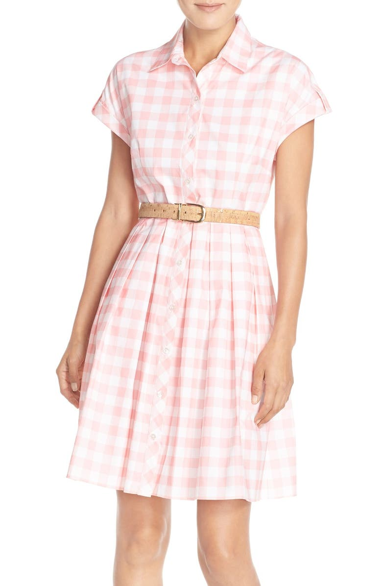ELIZA J Check Cotton Poplin Shirtdress, Main, color, 660