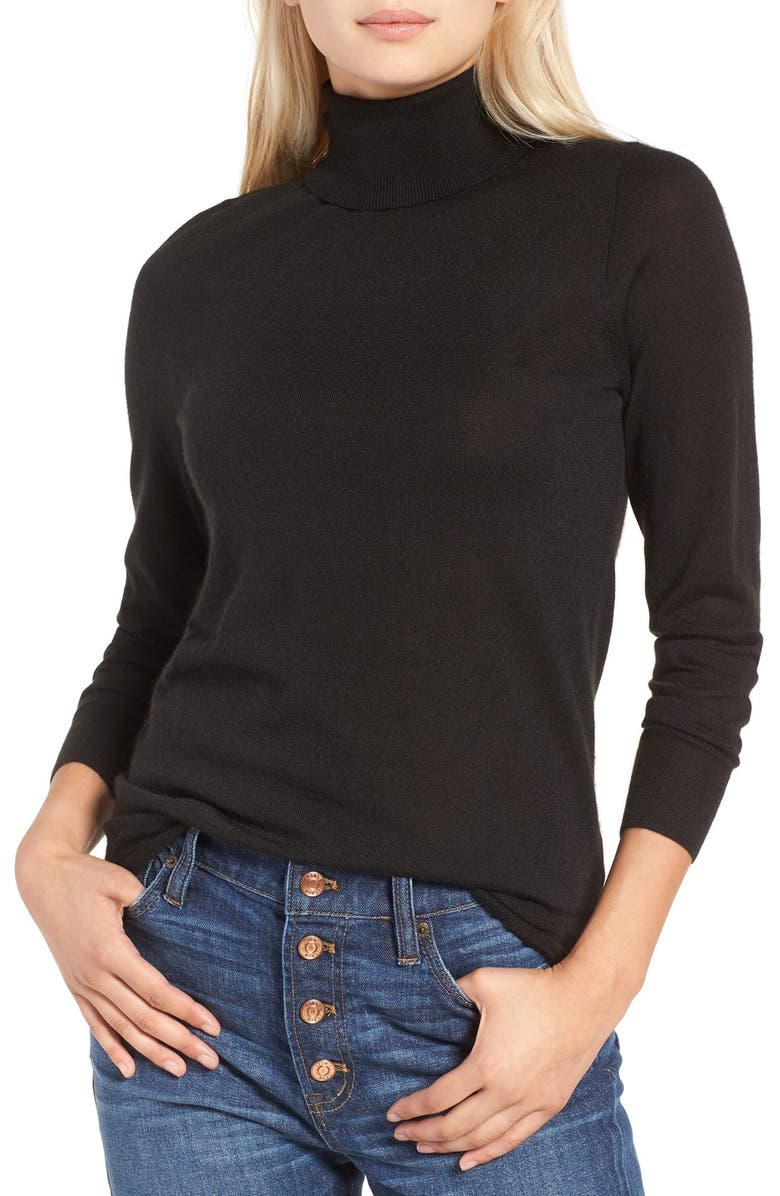 J.CREW Featherweight Cashmere Turtleneck, Main, color, 001