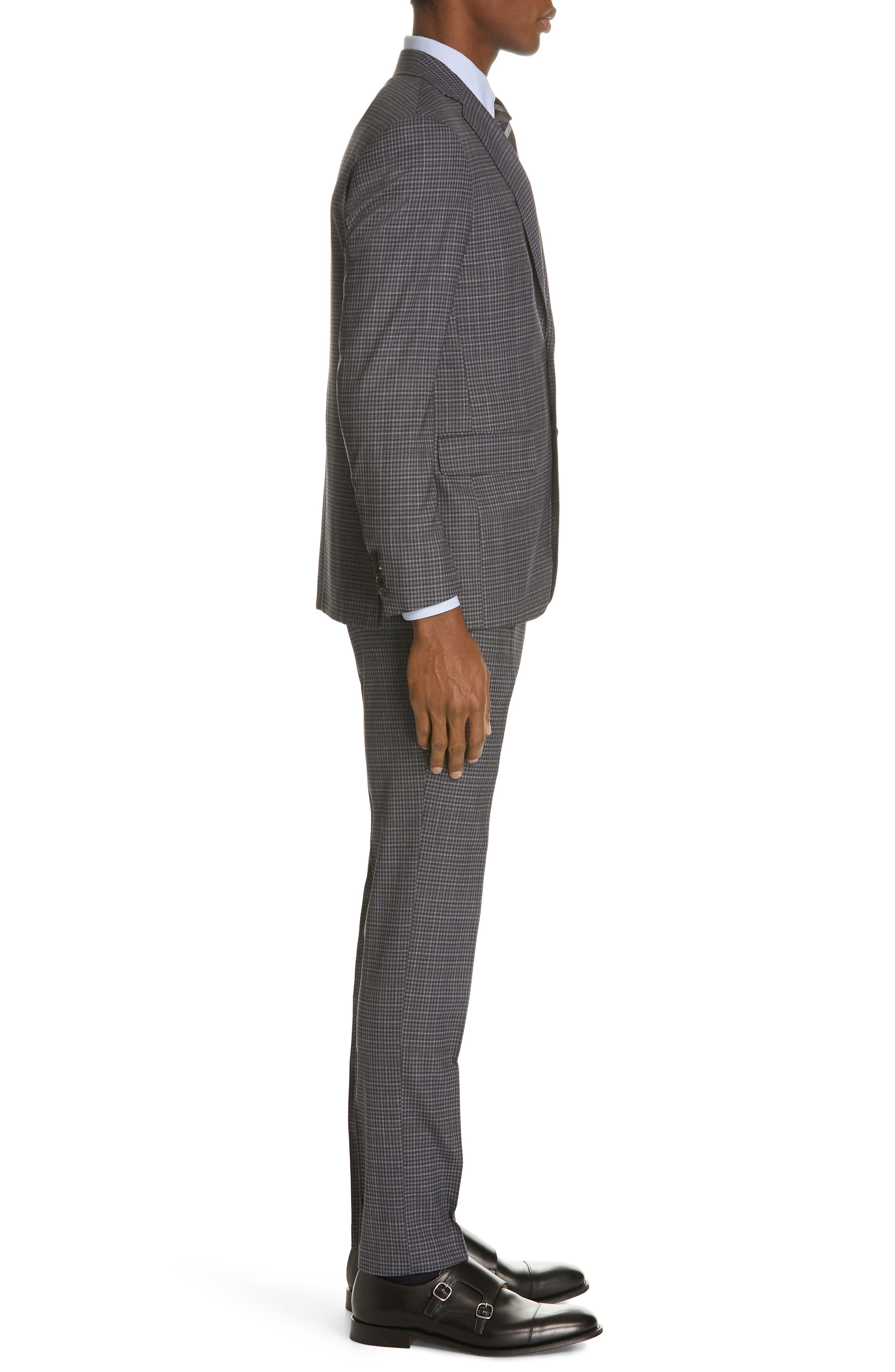 ,                             Milano Trim Fit Check Wool Suit,                             Alternate thumbnail 3, color,                             CHARCOAL
