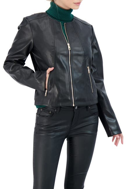 Image of Sebby Collection Collarless Faux Leather Jacket