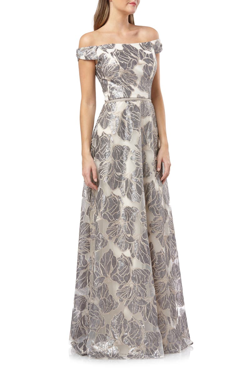 CARMEN MARC VALVO INFUSION Off the Shoulder Sequin Gown, Main, color, SILVER/ CHAMPAGNE