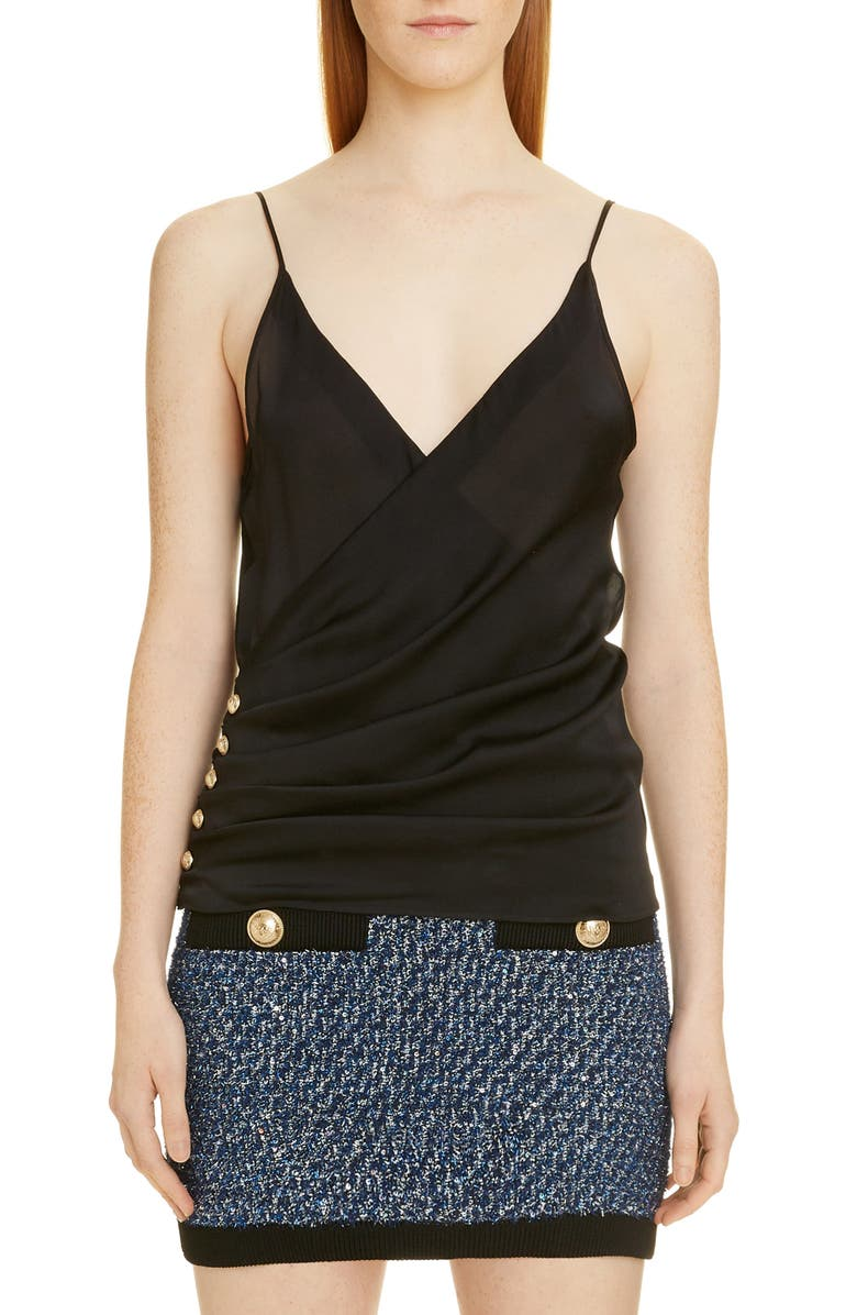 BALMAIN Side Button Silk Charmeuse Camisole Top, Main, color, 0PA NOIR