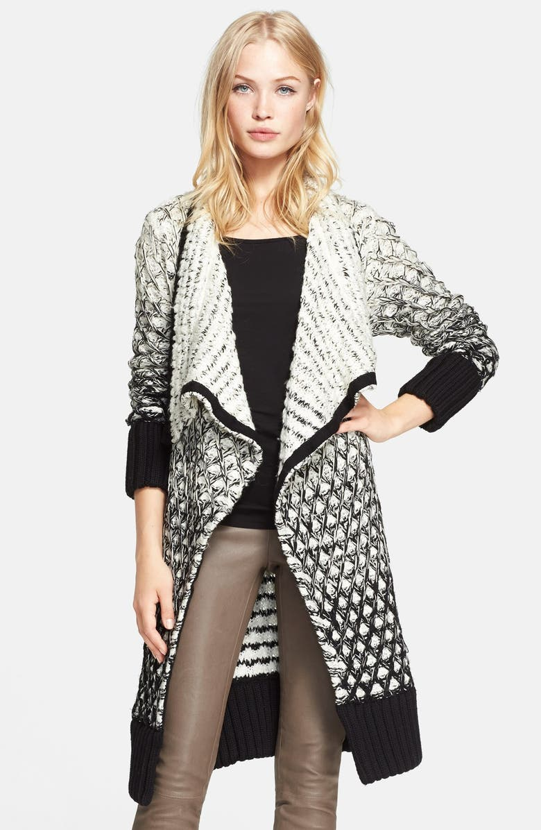 ALICE + OLIVIA Ombré Open Front Long Cardigan, Main, color, 001