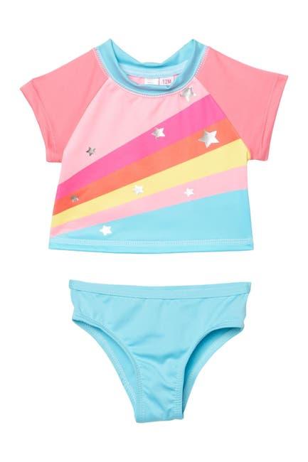 Image of Wippette Rainbow Foiled Stars Rash Guard - 2-Piece Set