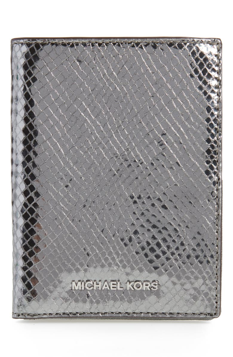 MICHAEL KORS Money Pieces Leather Passport Wallet, Main, color, 020