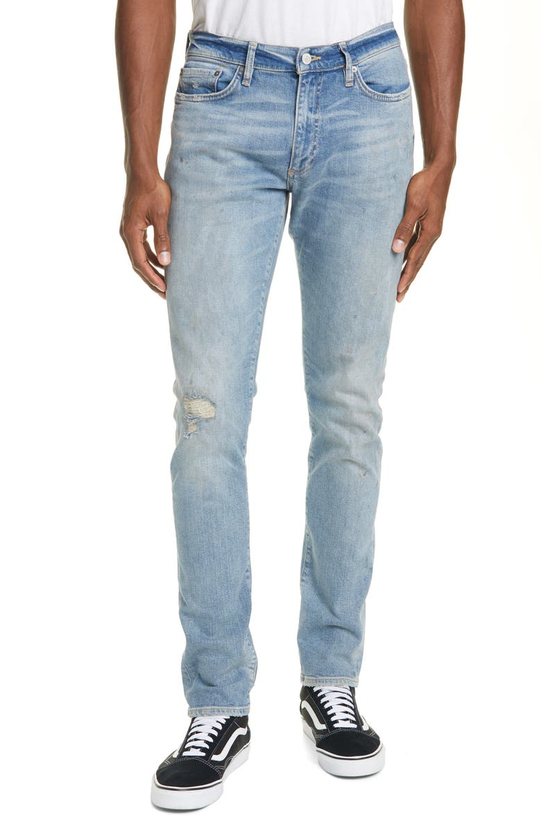 OVADIA Ripped Skinny Fit Jeans, Main, color, PAINT LIGHT