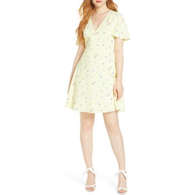 French Connection Frida Arimose Crepe Minidress, Yellow