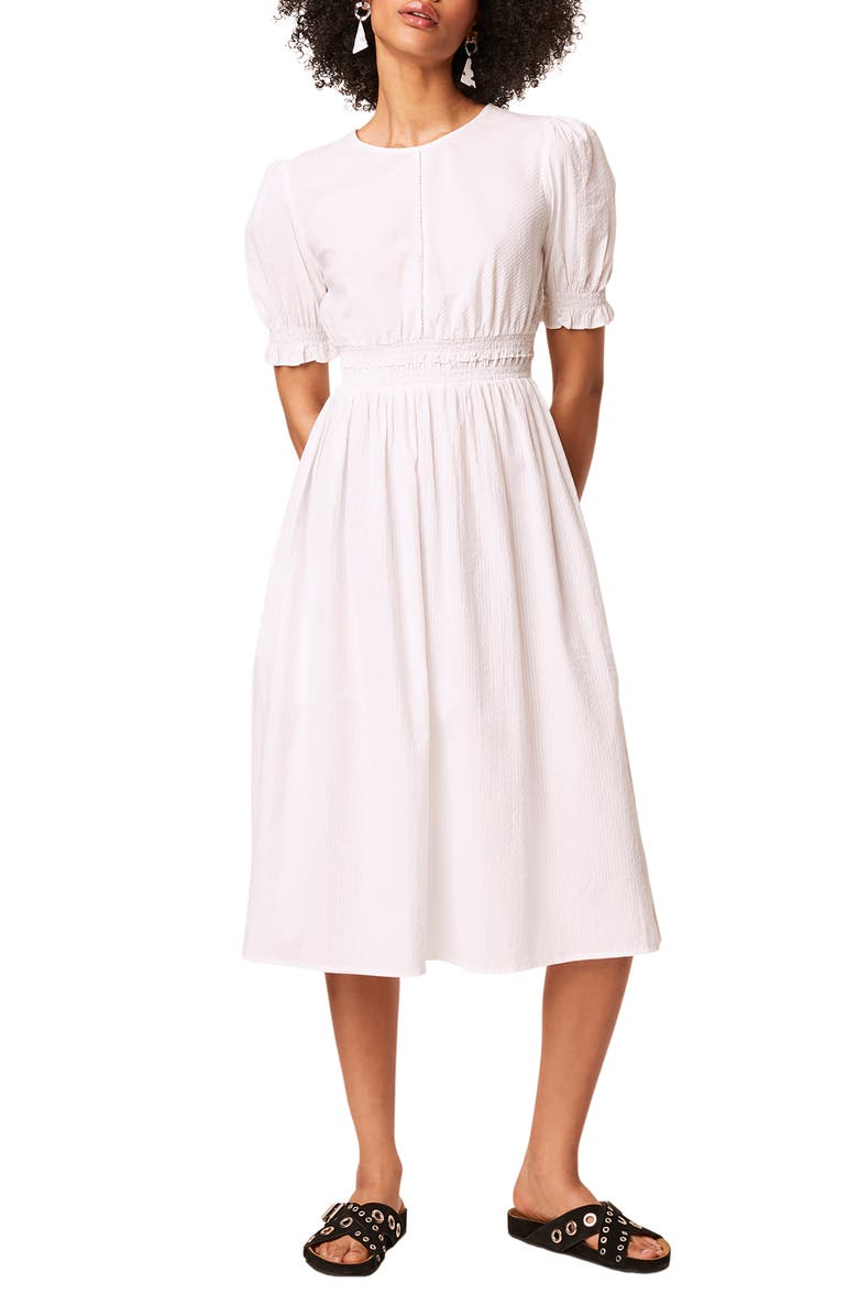 FRENCH CONNECTION Yri Cotton Seersucker Midi Dress, Main, color, LINEN WHITE