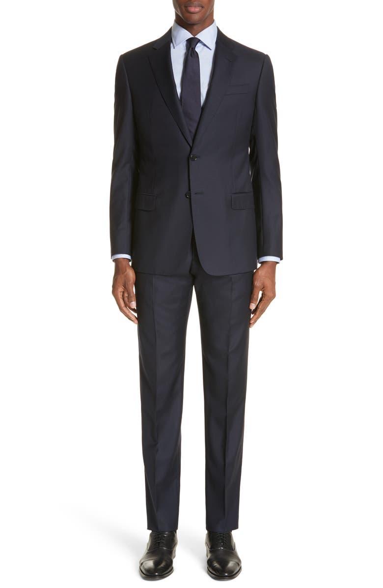 EMPORIO ARMANI Trim Fit Solid Wool Suit, Main, color, NAVY