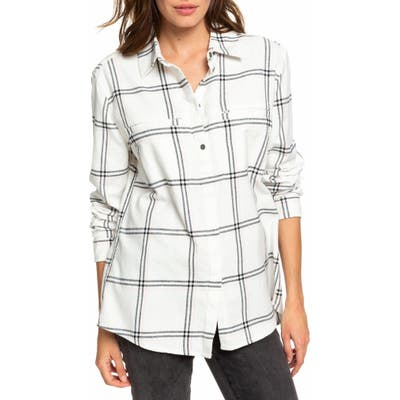 Roxy Young Again Plaid Flannel Shirt, White