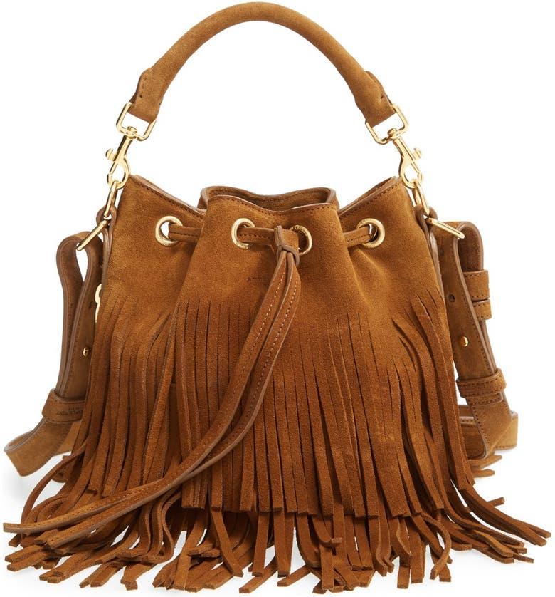 14e18a75c7 Saint Laurent 'Emmanuelle' Suede Fringe Bucket Bag   Nordstrom