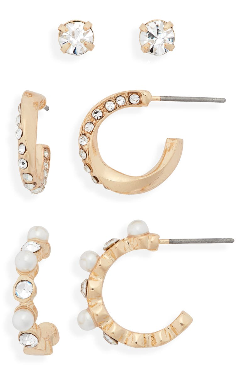 BP. 3-Pack Earrings, Main, color, CLEAR- WHITE- GOLD