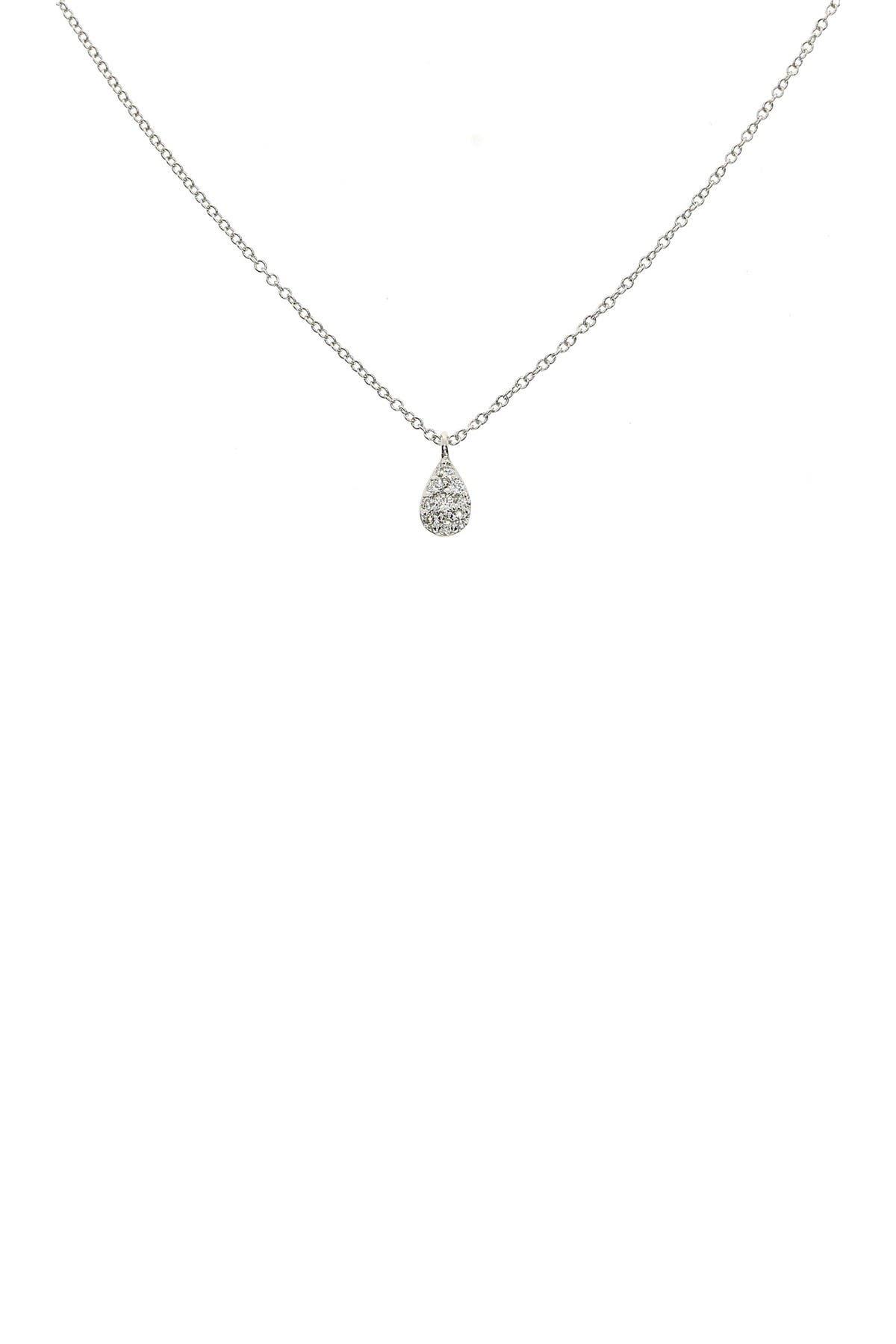 Image of Bony Levy 18K White Gold Pave Diamond Petite Teardrop Pendant Necklace - 0.07 ctw