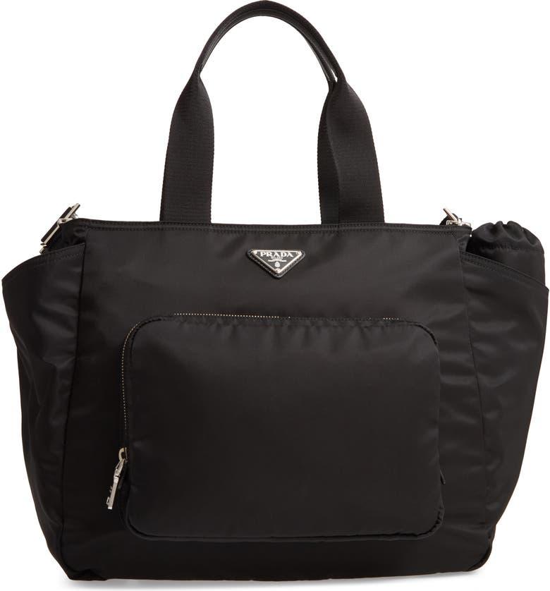 PRADA Vela Nylon Baby Bag, Main, color, 001