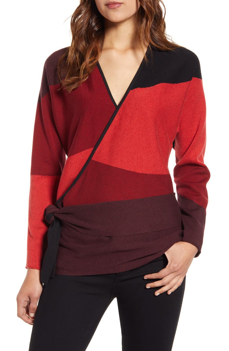 NIC+ZOE New Wave Colorblock Faux Wrap Sweater, Main, color, MULTI