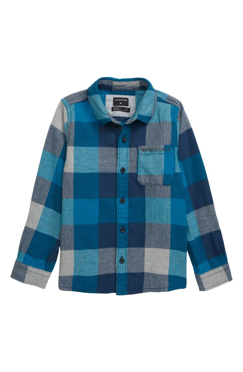 QUIKSILVER Motherfly Flannel Shirt, Main, color, CRYSTAL TEAL