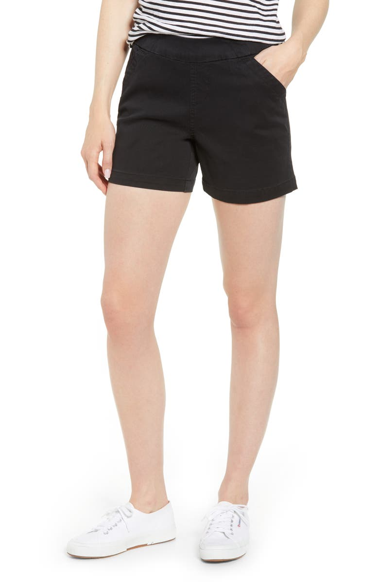JAG JEANS Gracie Cotton Blend Shorts, Main, color, BLACK