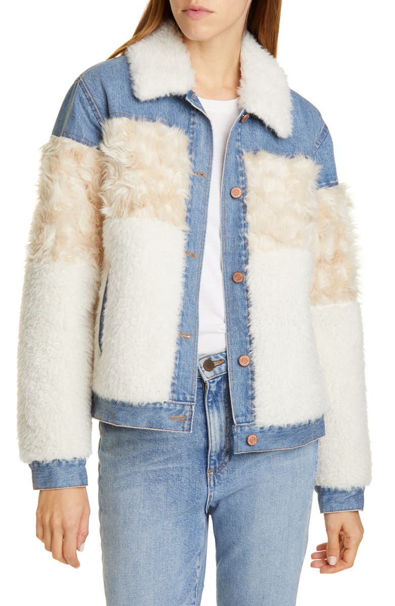 LA VIE REBECCA TAYLOR Faux Fur & Denim Trucker Jacket, Main, color, 400