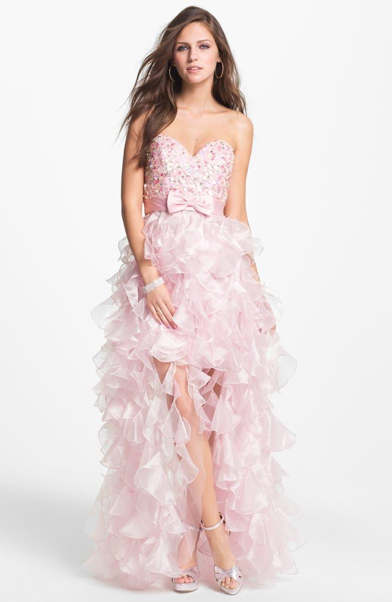 SHERRI HILL 'Corkscrew' Embellished Ruffled Chiffon Dress, Main, color, 650
