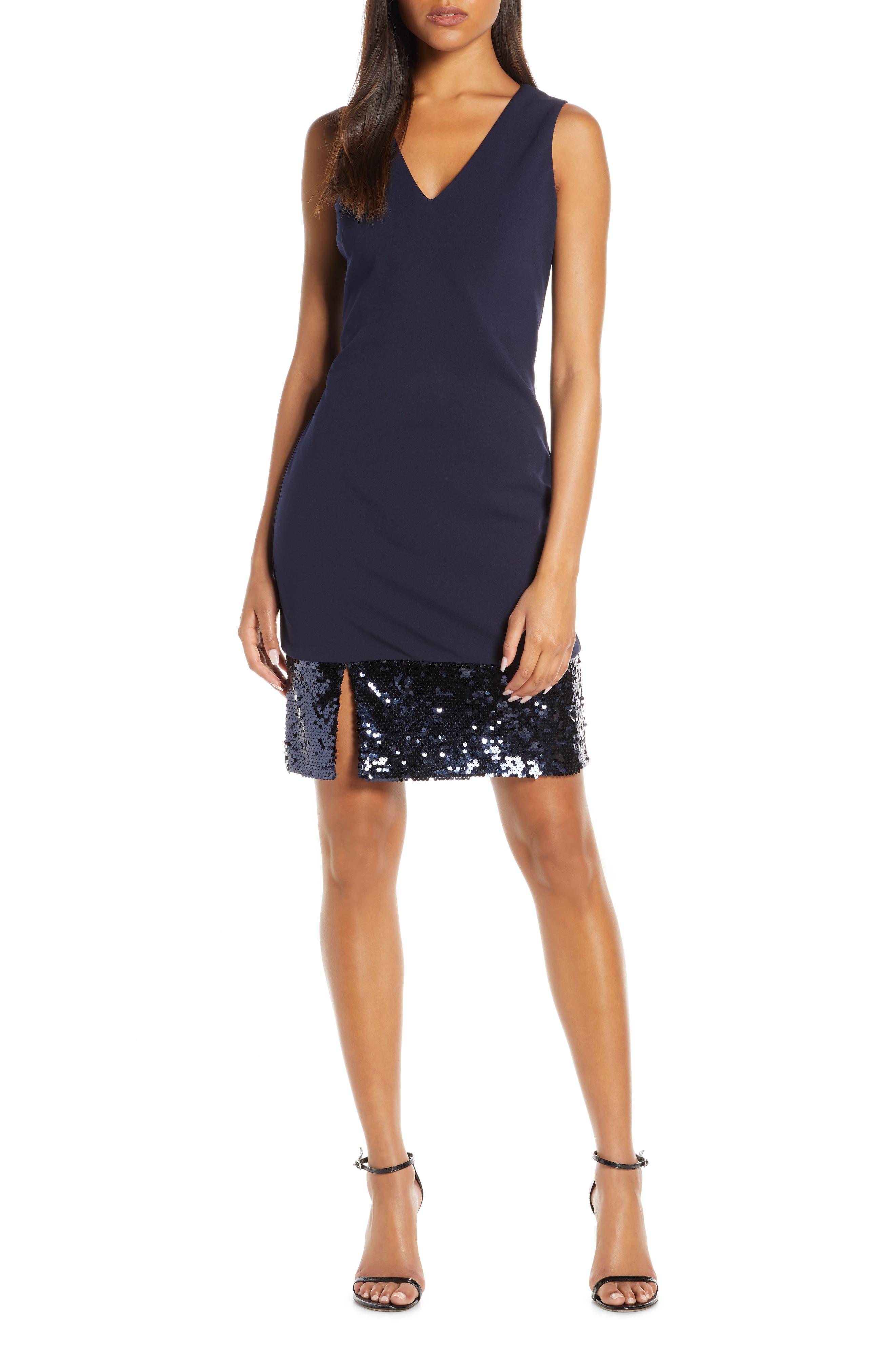 Plus Size Vince Camuto Sequin Hem Cocktail Sheath Dress, Blue