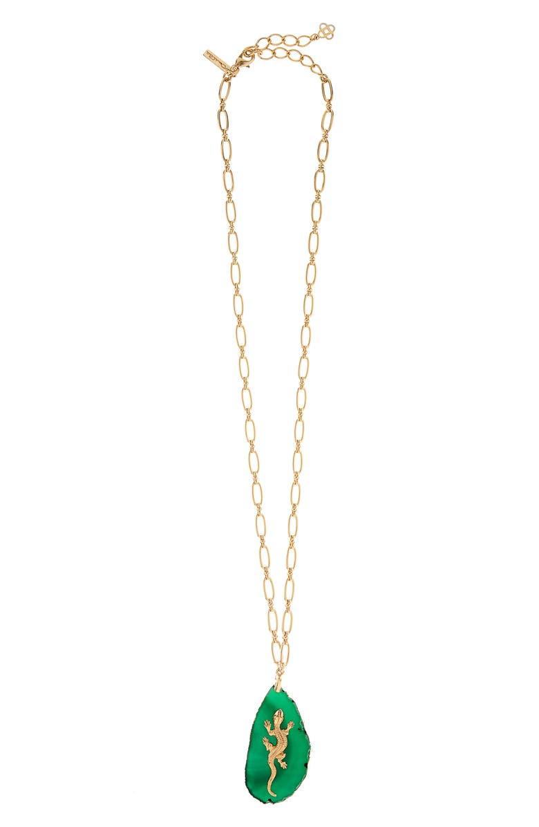 OSCAR DE LA RENTA Runway Lizard Stone Pendant Necklace, Main, color, JUNIPER