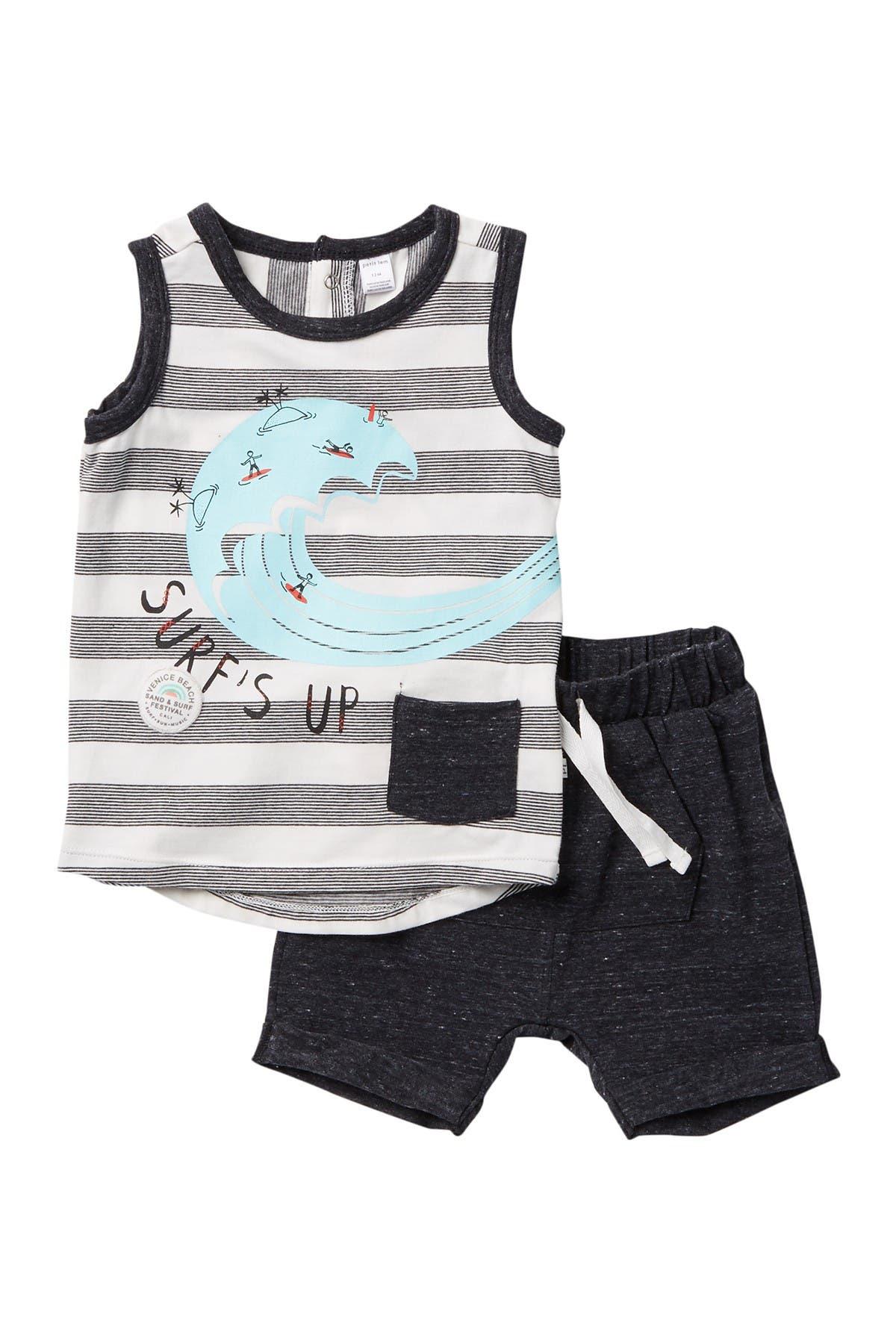 Image of Petit Lem Surf's Up Tank & Knit Shorts Set