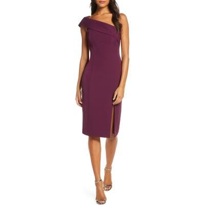 Eliza J Off The Shoulder Scuba Crepe Cocktail Dress, 8 (similar to 1) - Purple