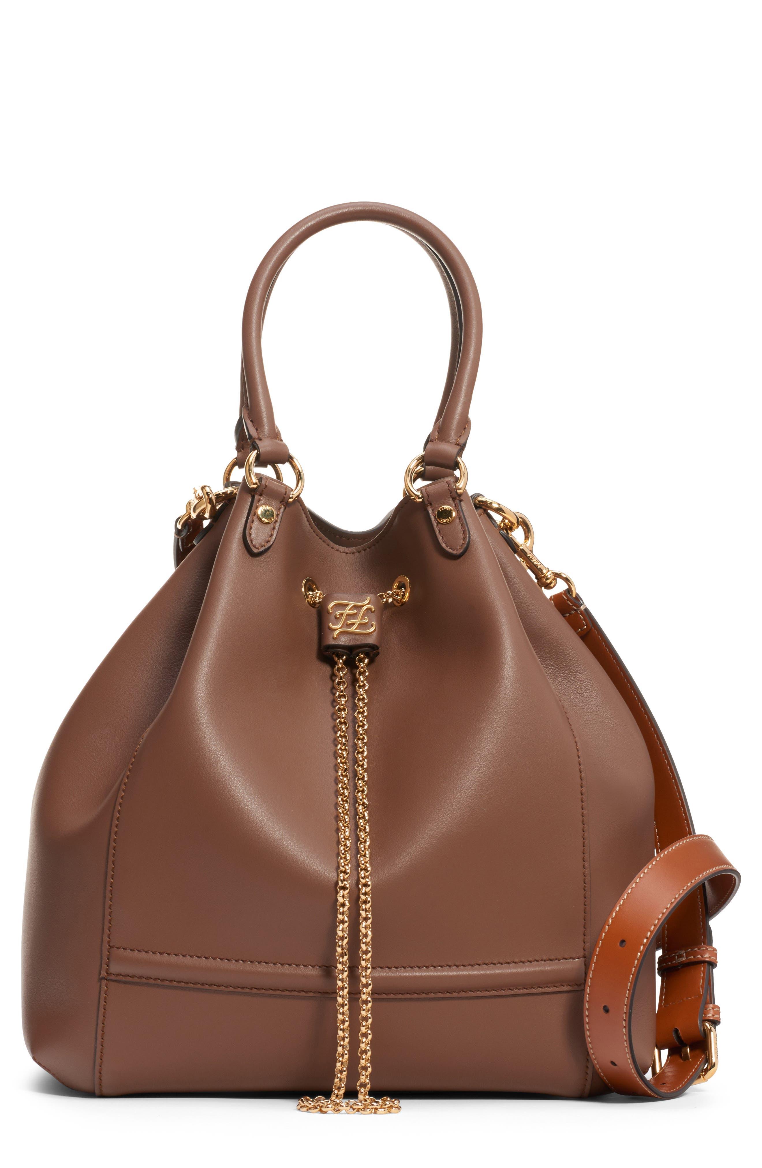 Fendi Grace Chain Drawstring Leather Bucket Bag   Nordstrom