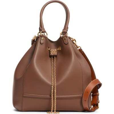 Fendi Grace Chain Drawstring Leather Bucket Bag - Brown