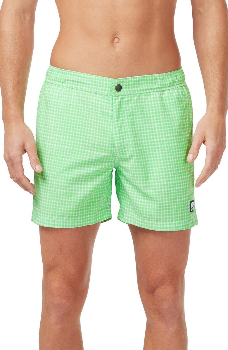TOM & TEDDY Gingham Print Snap Swim Trunks, Main, color, GREEN
