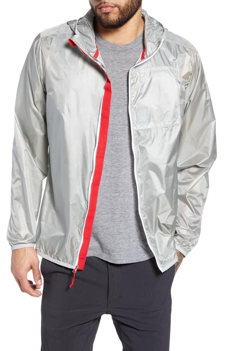 TOPO DESIGNS Ultralight Water Repellent Jacket, Main, color, SILVER