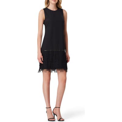 Tahari Fringe Detail Sleeveless Crepe Sheath Dress, Black