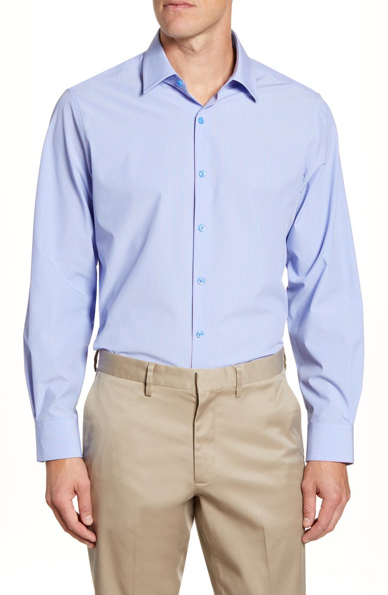 MOVE PERFORMANCE APPAREL Trim Fit Stripe Dress Shirt, Main, color, LAVENDER