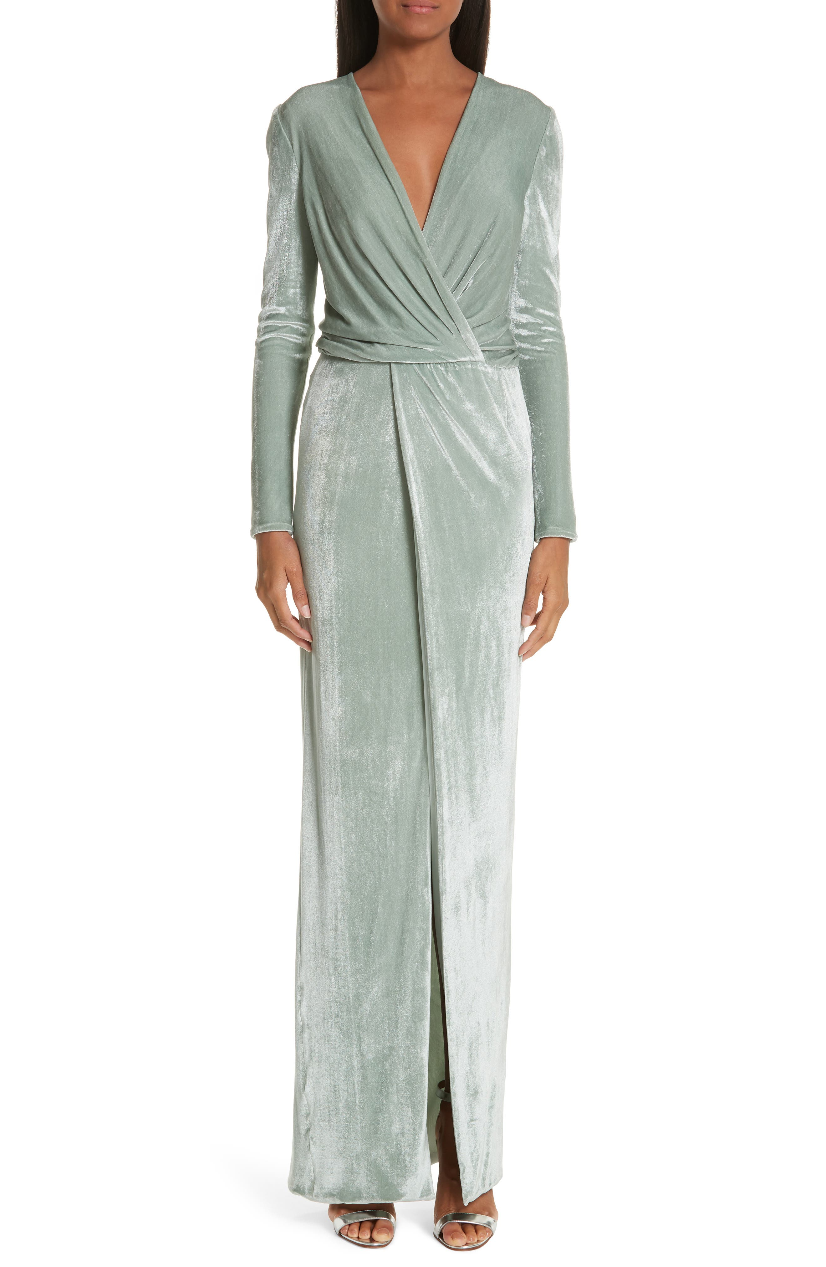 Galvan Surplice Neck Velvet Gown, 6 FR - Green