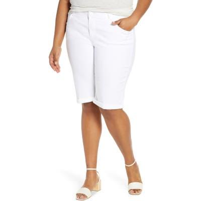Plus Size Democracy Stretch Denim Bermuda Shorts, White