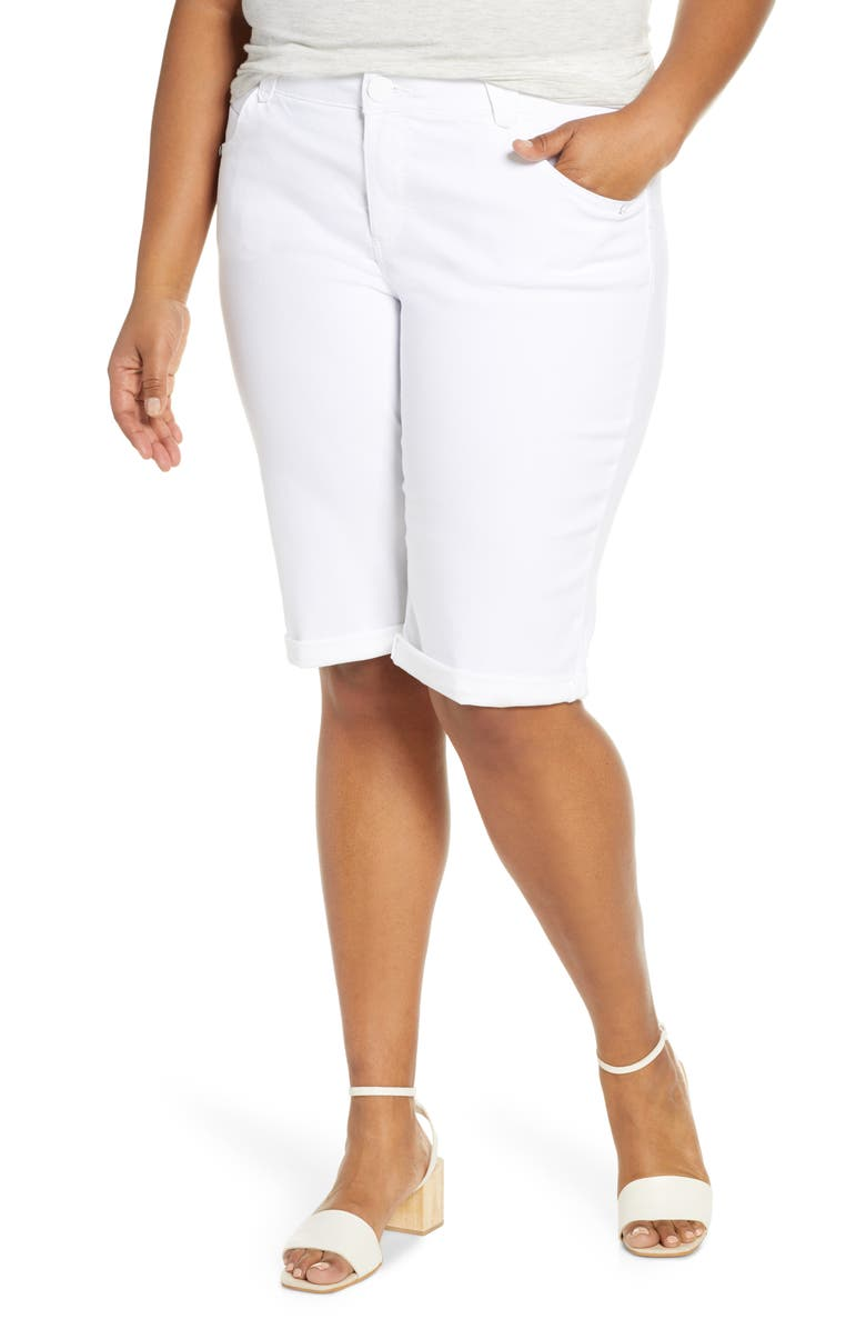 DEMOCRACY Stretch Denim Bermuda Shorts, Main, color, OPTIC WHITE