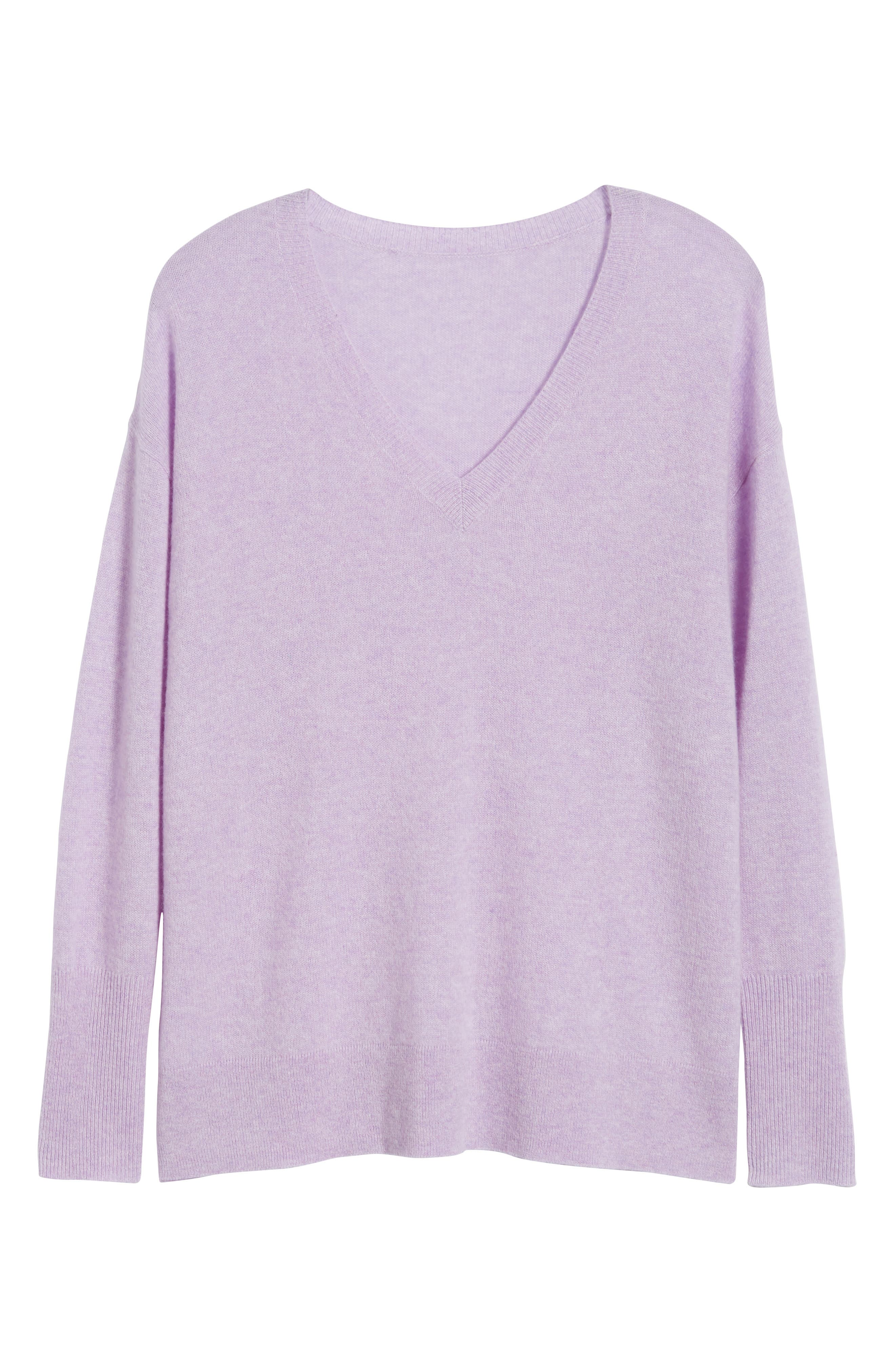 ,                             Relaxed V-Neck Cashmere Sweater,                             Alternate thumbnail 6, color,                             530